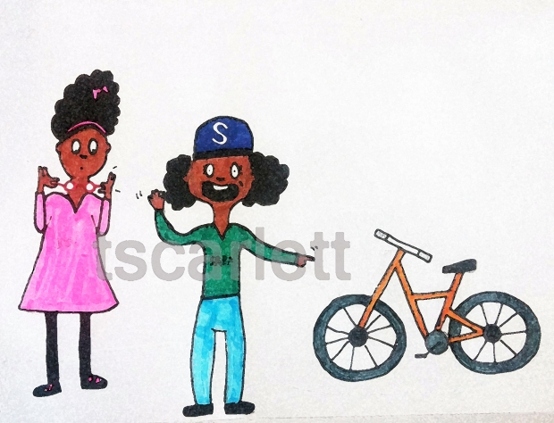 Drawing things other than just the two girls. Such as, a bike.